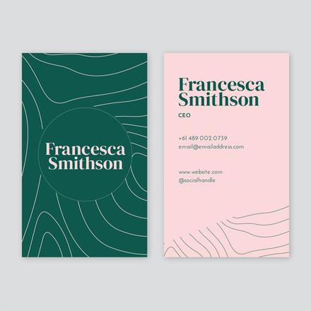Pink & Green Wavy Lines Business Card