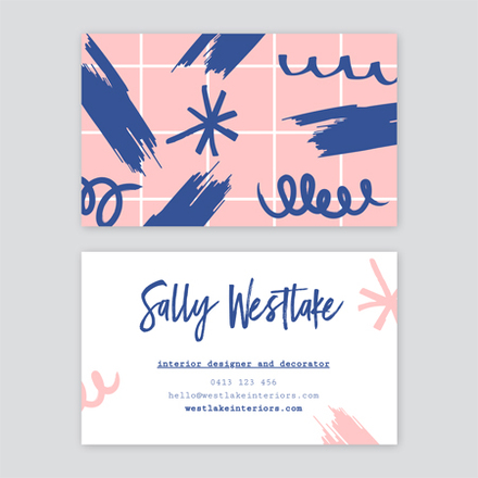 Interior Designer Business Card Template With Scribble Graphics Easil