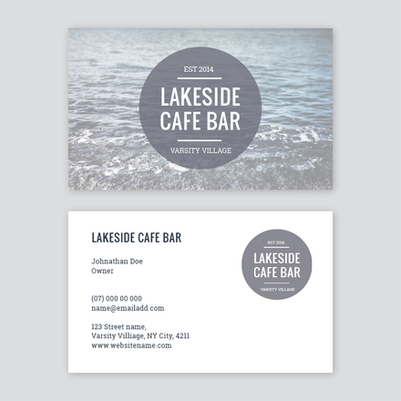 Cafe bar circle logo business card template wajeb