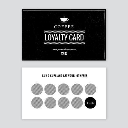 Black White Cafe Stamp Loyalty Card - Loyalty stamp card template