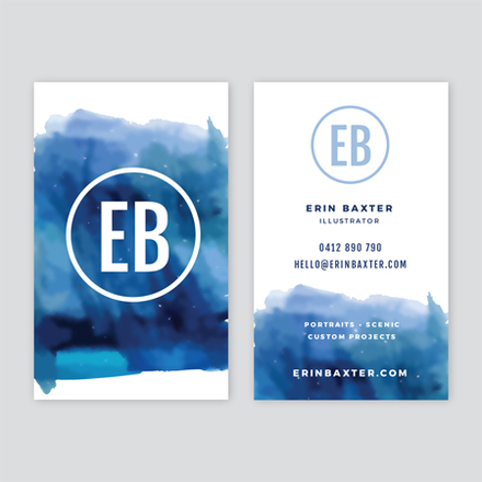 Blue Watercolour Business Card Template