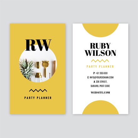 Bright Yellow Black And White Party Planner Business Card Easil