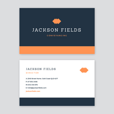 Navy and Orange Simple Corporate Business Card