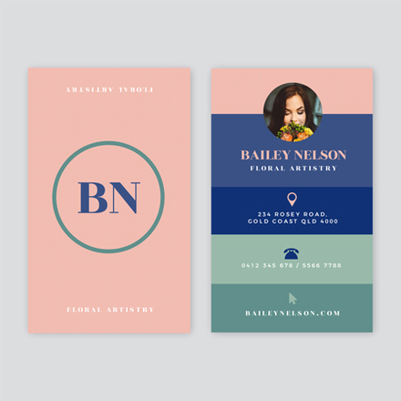 Pastel Pink Blue and Green Colourblock Business Card