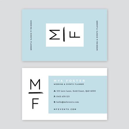 Blue Wedding Planner Business Card