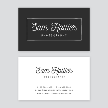 Classic Black & White Boxed Text Business Card