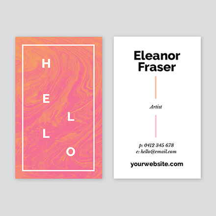 Hello Business Card with Pink & Orange Swirl Detail