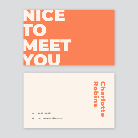 Nice to meet you - business card