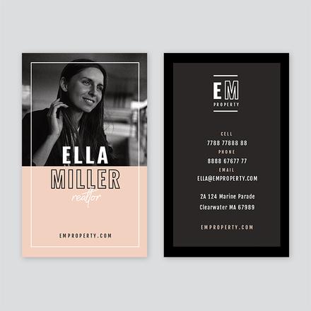 Blush & Deep Gray Business Card Template