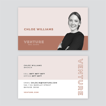 Venture Realtor Horizontal Split Business Card Template with cut out profile Image