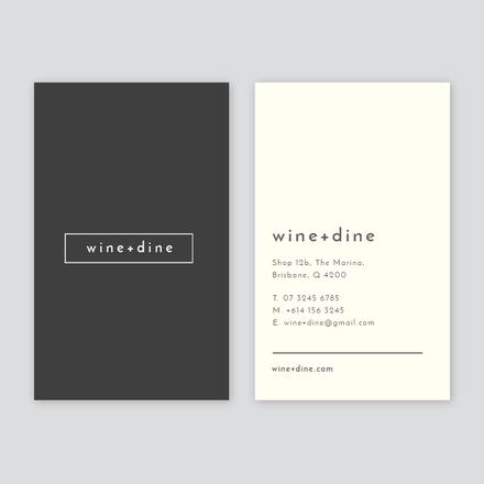 Wine + Dine Simple Business Card