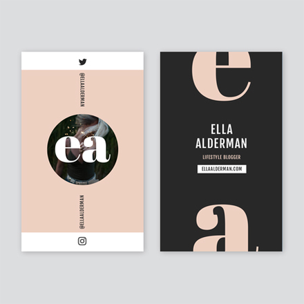 Blush Grey and White Lifestyle Blogger Business Card