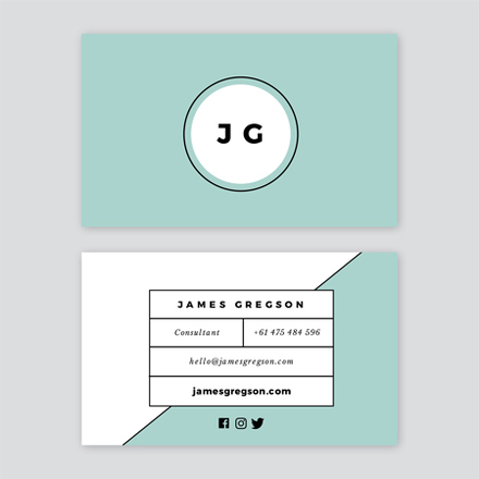 Light Green & White Clean Lines Business Card Template
