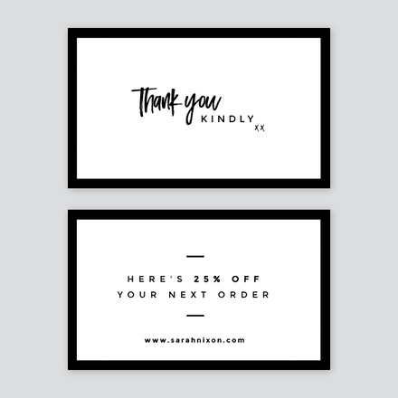 Simple black and white thank you card wajeb