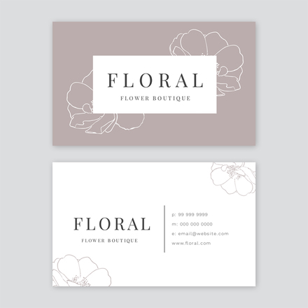 Florist Taupe & White Business Card