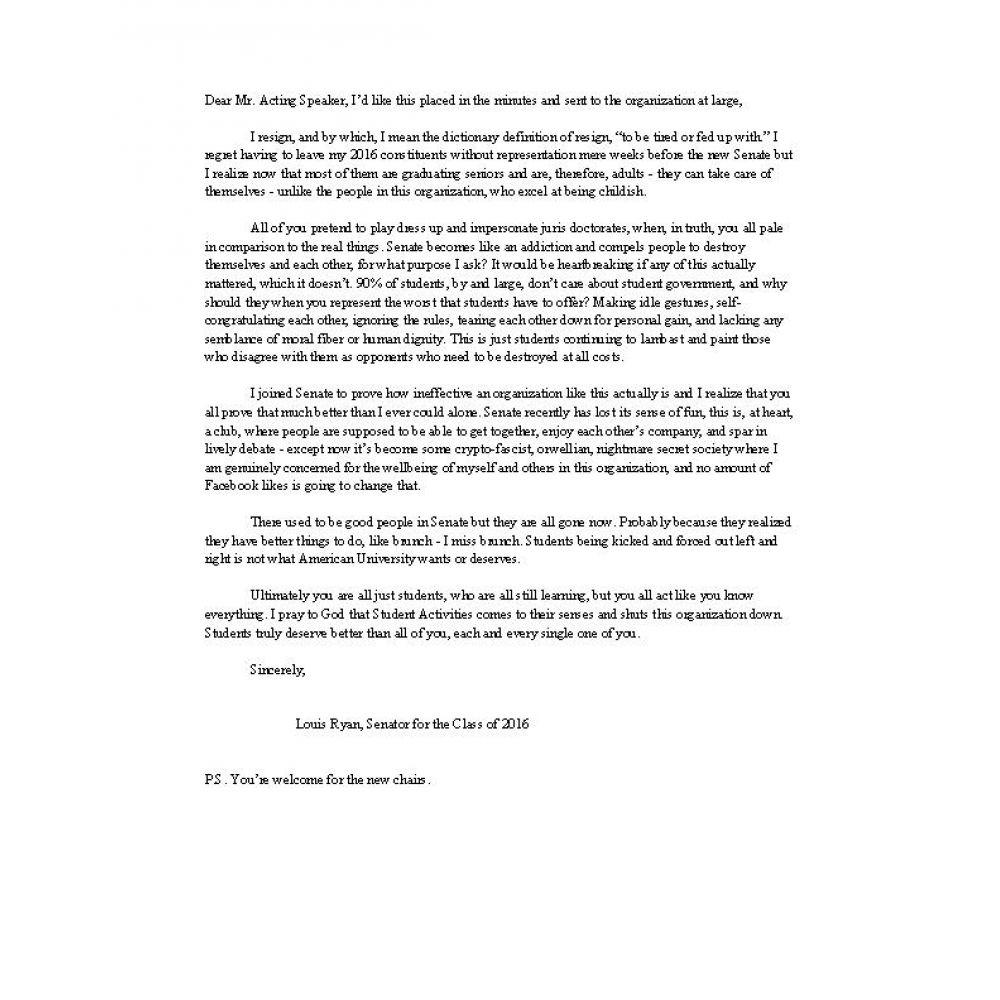 Undergraduate Senator resigns in letter attacking Senate culture – Resignation Letter Australia