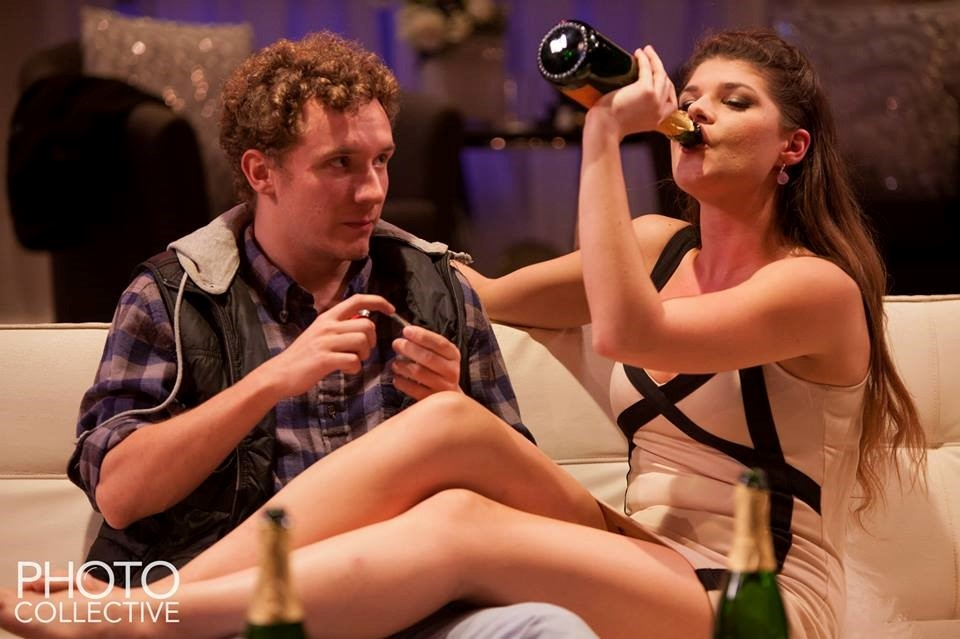 """Tears, vomit and drugs fall on Katzen's stage floor in AU's production of """"Bachelorette"""" last month"""