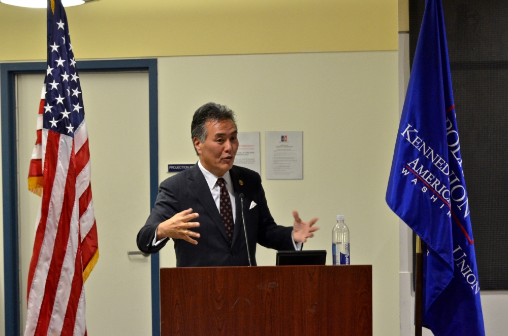 Rep. Mark Takano addressed AU students at KPU event