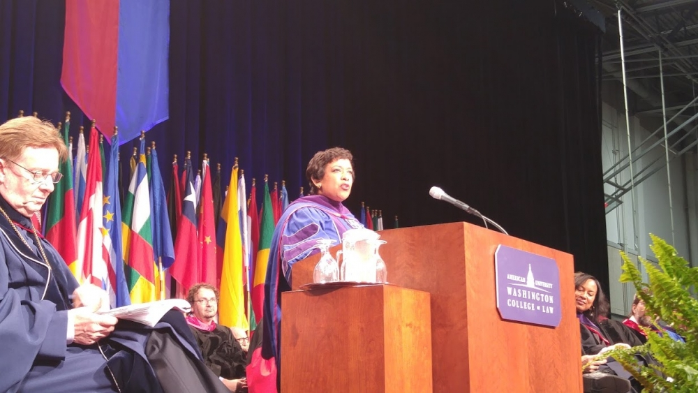Attorney General Loretta Lynch speaks at WCL Commencement