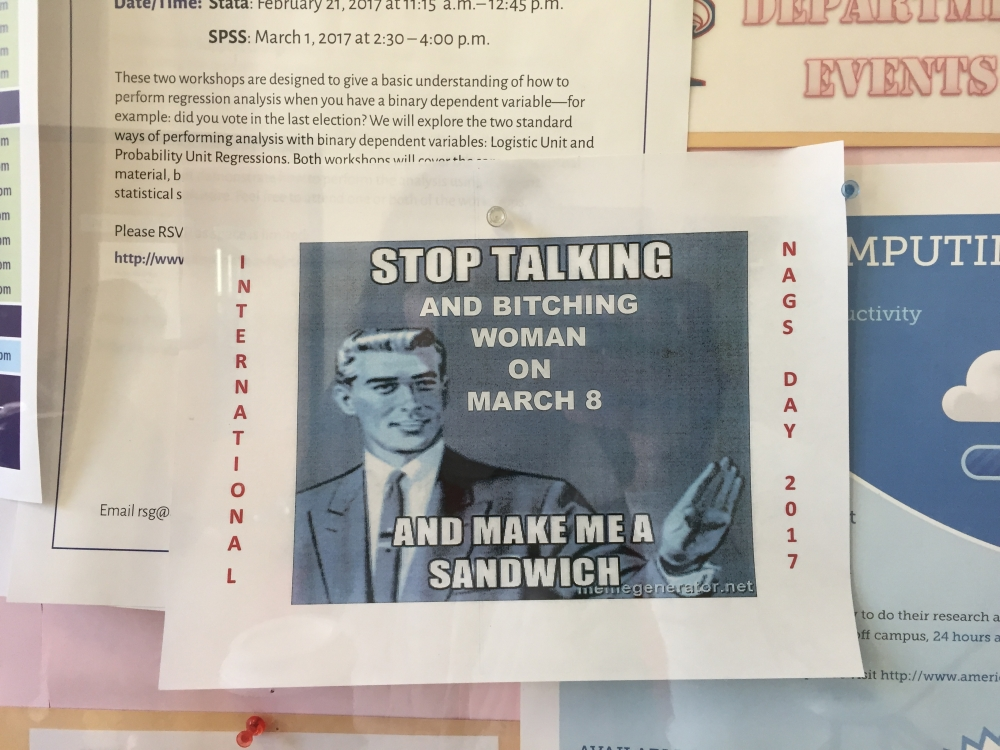 Posters targeting women found on campus on International Women's Day