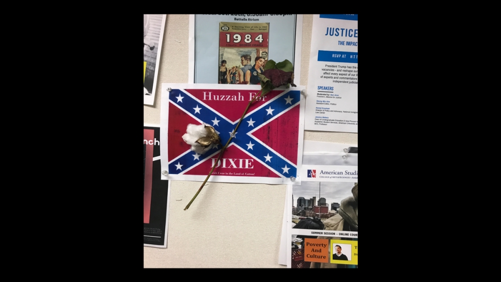 Confederate flag fliers found hanging in four American University buildings