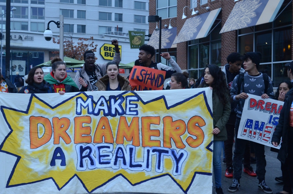 AU students rally for a 'clean DREAM act' at Senate building
