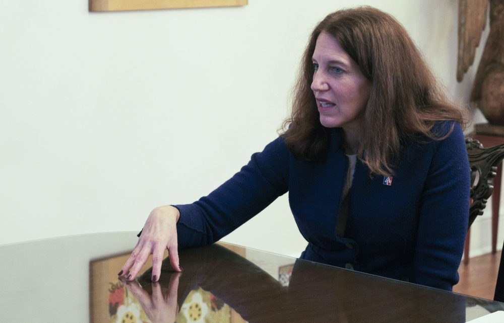 Burwell Speaks with student