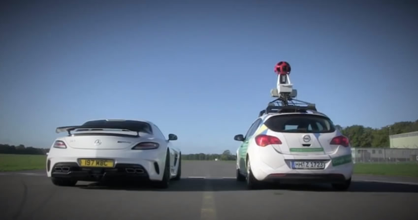 The Stig Takes on Google Car in an SLS AMG Black