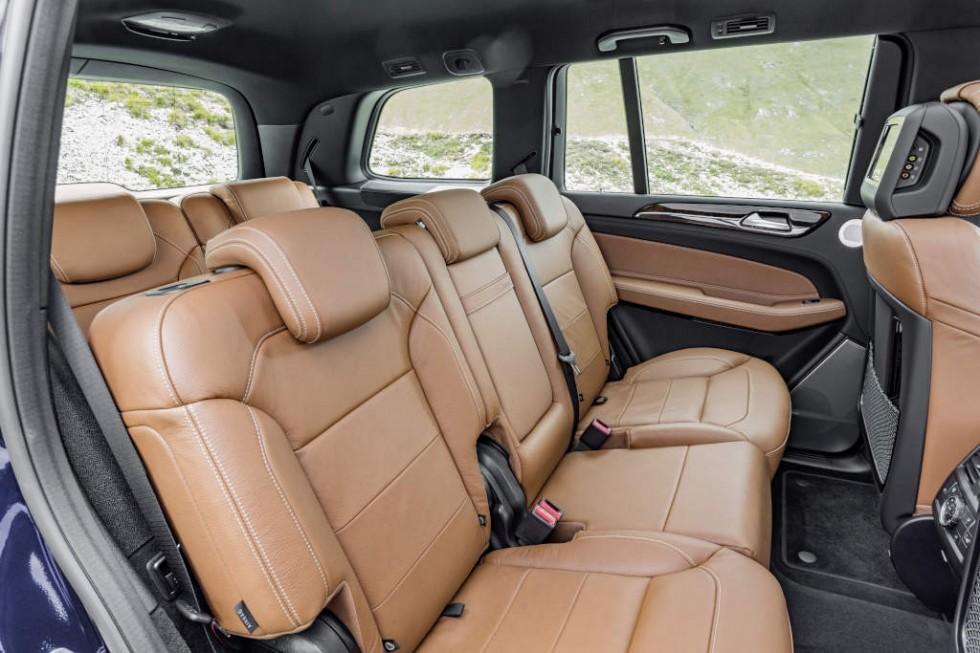 GLS 350 d 4MATIC, Interieur: Leder sattelbraun/schwarz, Zierteile: Holz Wurzelnuss glänzend,  interior: leather saddle brown, trim parts: walnut wood high-gloss