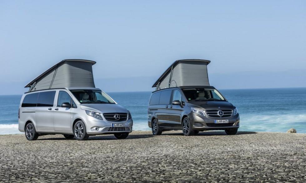 Mercedes-Benz Marco Polo ACTIVITY 220 CDI, exterior, brilliant silver metallic (left) and Mercedes-Benz Marco Polo 250 BlueTEC, exterior, indium grey metallic (right)