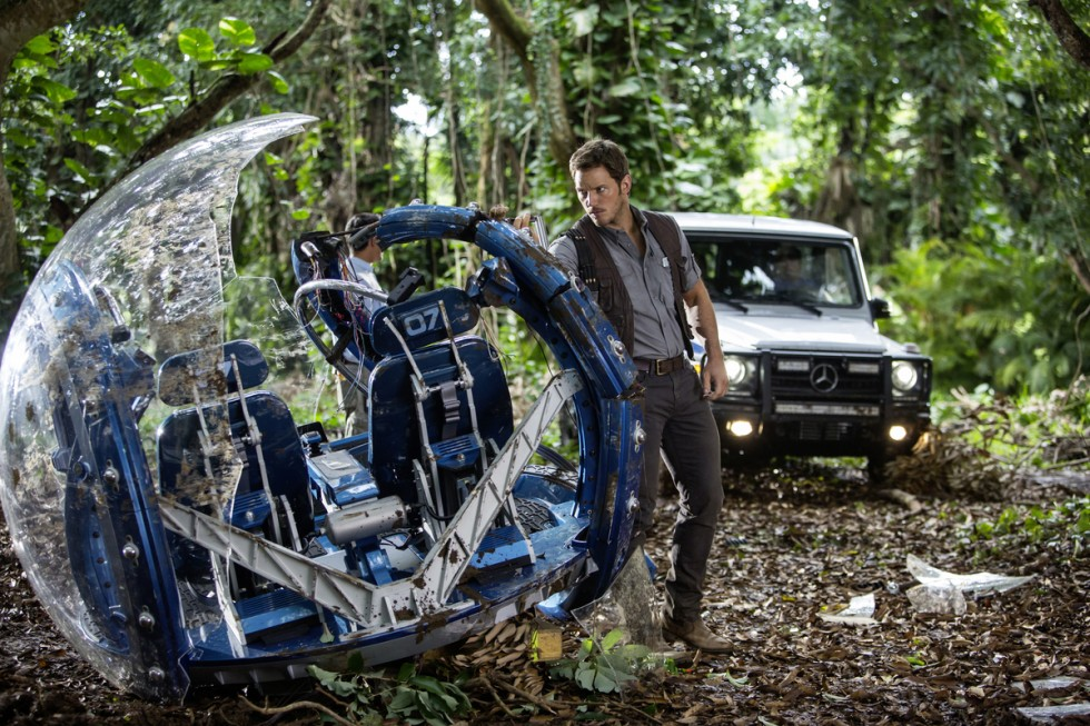 Chris Pratt and the Mercedes-Benz G-Class on the set of Jurassic World.