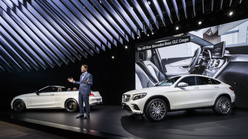 Mercedes-Benz at the 2016 New York International Auto Show. Ola Källenius, Member of the Board of Management of Daimler AG, Mercedes-Benz Cars Marketing & Sales, presenting the new Mercedes-Benz GLC Coupé