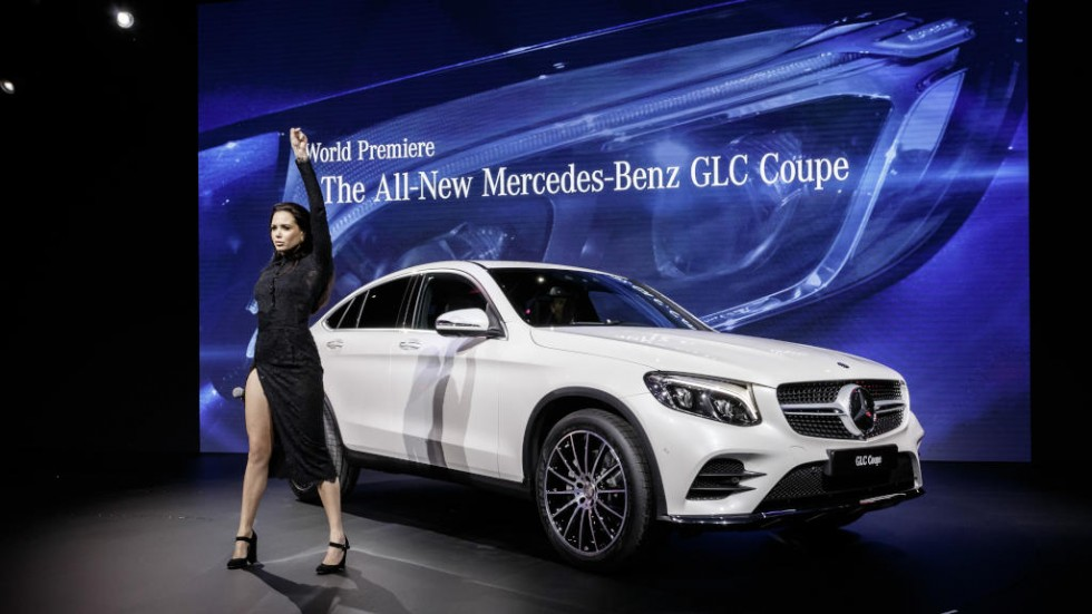 "Mercedes-Benz at the 2016 New York International Auto Show. The german singer Grace Capristo, presenting her new song ""One woman army"" on the world premiere of the new GLC Coupé at the New York International Auto Show"