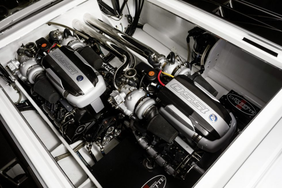The Cigarette Racing Team 515 Project ONE is powered by a pair of Mercury Racing 1,350/1,550 QC4v (Quad Cam 4 Valve) engines and M8 stern drives, delivering up to 3,100 hp.
