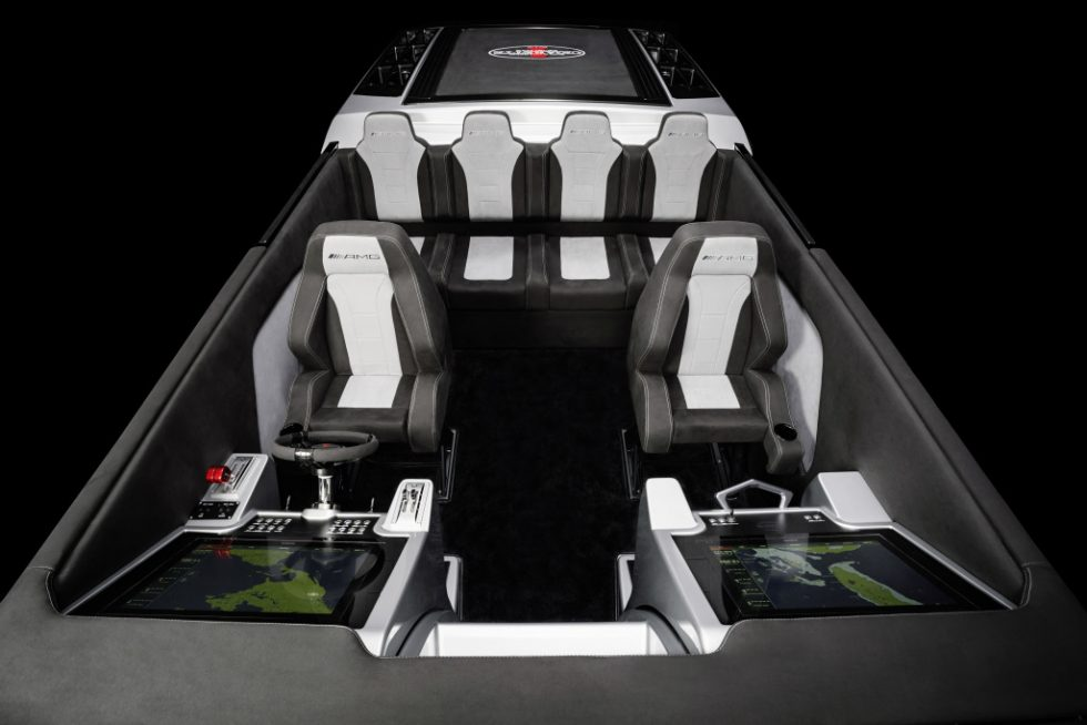 """Representing the ninth special edition boat created from this partnership, the Cigarette Racing 515 Project ONE is 51' 5"""" in length and features an increased beam of 9' 6"""" which allows 6 passengers the ability to be seated comfortably."""