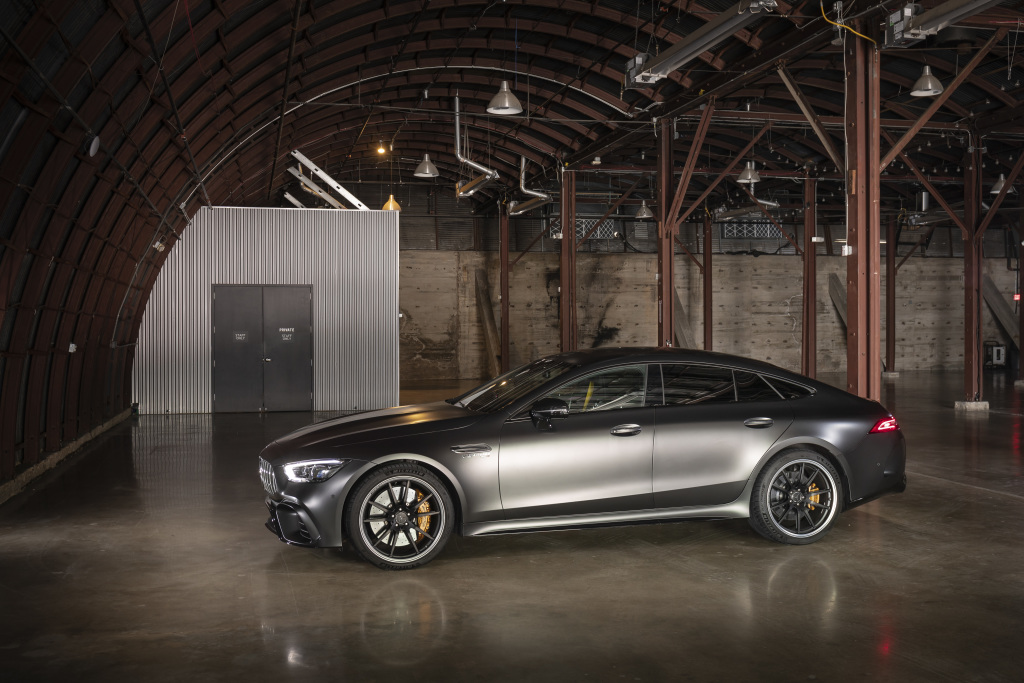 Mercedes-AMG GT 63 S 4MATIC+ 4-Door Coupe, designo hyacinth red metallic; AMG nappa leather - black/red topstitching;Fuel consumption combined: 11.2 l/100 km; CO2 emissions combined: 256 g/km*