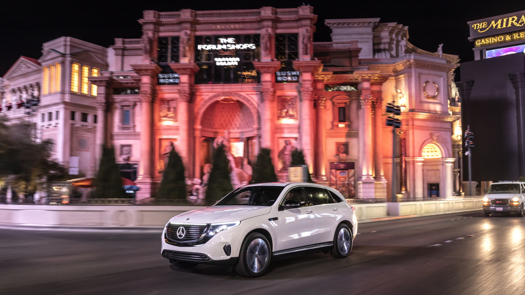 The new Mercedes-Benz EQC is celebrating its US premiere at CES 2019 in Las Vegas (combined power consumption: 22.2 kWh/100 km; CO2 emissions combined: 0 g/km, provisional details);Combined power consumption: 22.2 kWh/100 km; CO2 emissions combined: 0 g/km, provisional details*