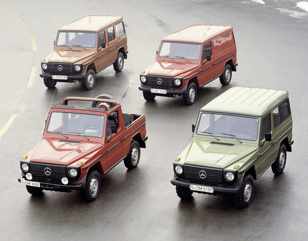 """Mercedes-Benz """"G"""" model from model series 460. Photograph from 1979. There were four engines, two wheelbases and five different body versions available at market launch."""