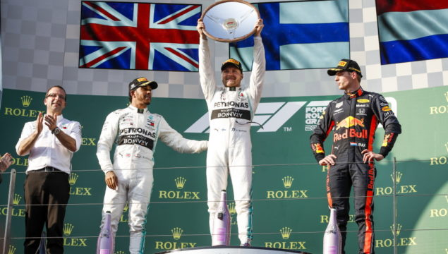 Formula One - Mercedes-AMG Petronas Motorsport, Australian GP 2019. Valtteri Bottas Lewis Hamilton