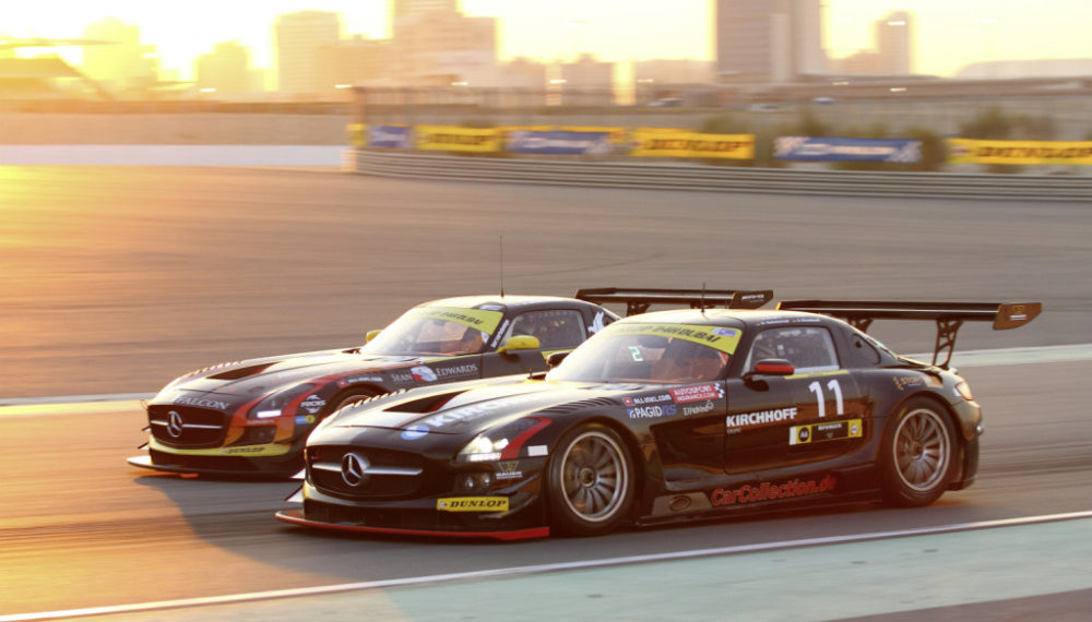 Mercedes-Benz SLS AMG GT3 customer sport racing car, 2014 Dubai 24-hour race. Photo from 2014.