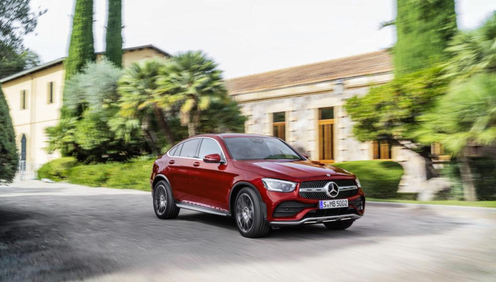 Mercedes-Benz GLC Coupé (C253), AMG Line, 2019, designo hyacinth red metallic, designo leather platinum white pearl / black