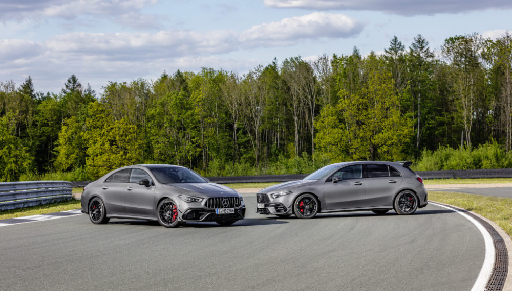 Mercedes-AMG A 45 S 4MATIC+ and CLA 45 S 4MATIC+ (2019);Fuel consumption combined: 8.4-8.1 l/100 km; Combined CO2 emissions: 192-186 g/km*