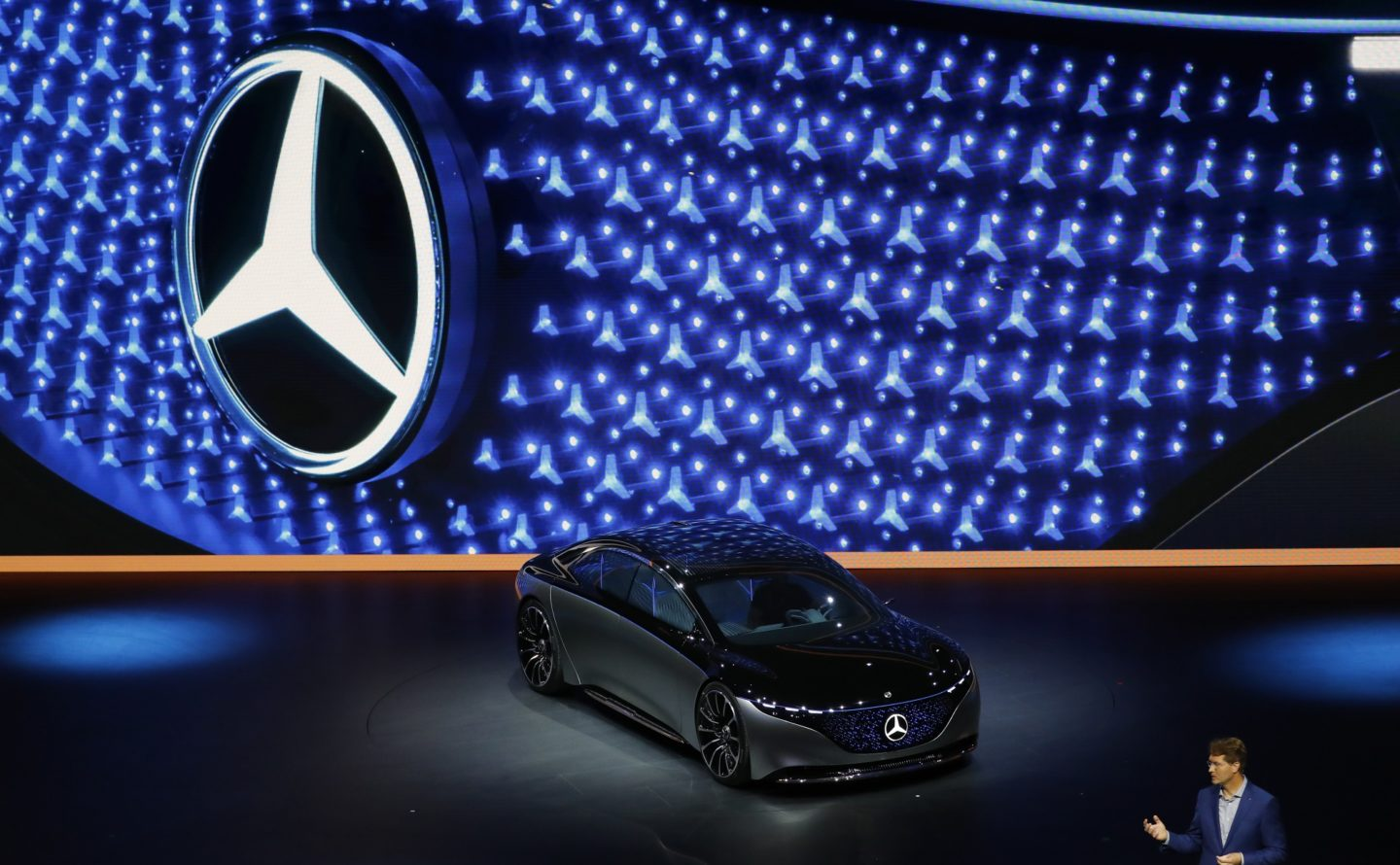 Mercedes-Benz Vision EQS electric automobile at the IAA Frankfurt Motor Show