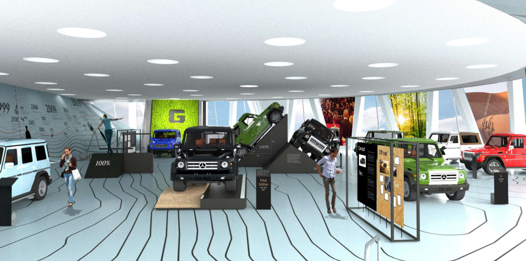 "Mercedes-Benz Museum, ""G-Schichten"" (G stories) special exhibition on the G-Class, 18 October 2019 to 19 April 2020. Computer rendering of the exhibition design."