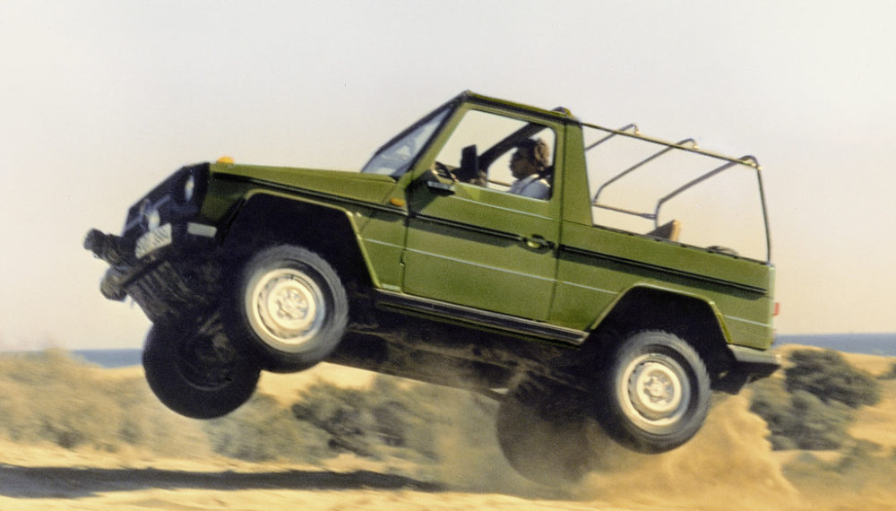 Mercedes-Benz 240 GD of the 460 model series, open-top vehicle with short wheelbase, press photograph for the world premiere of the G-Class, 1979.
