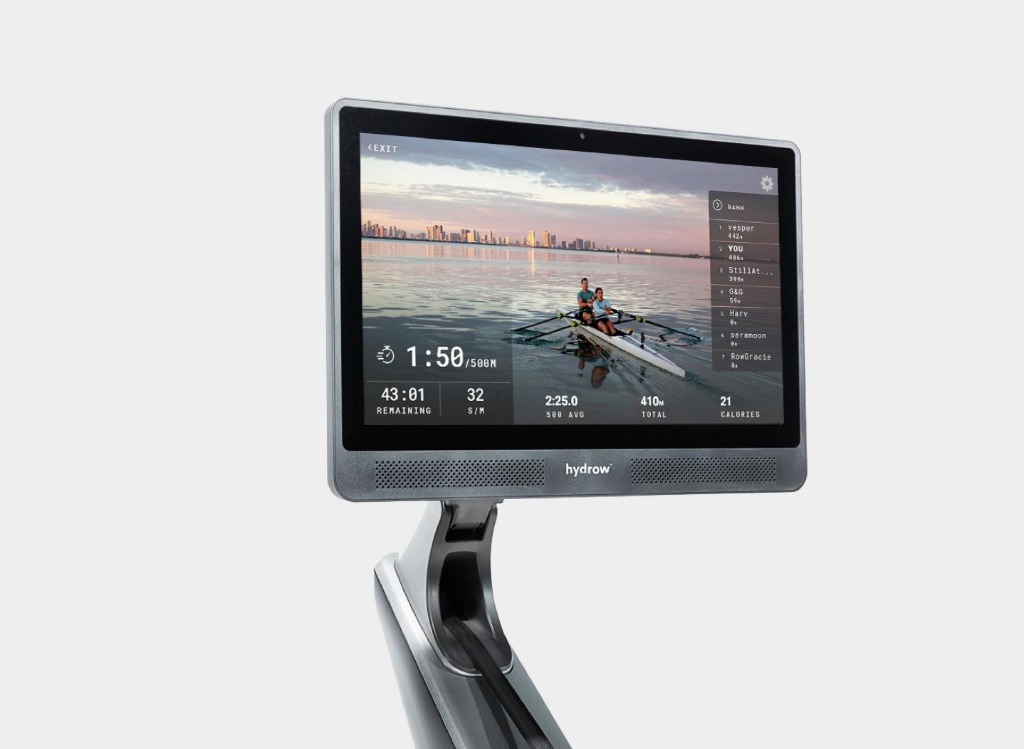 Hydrow Rowing Machine Screen