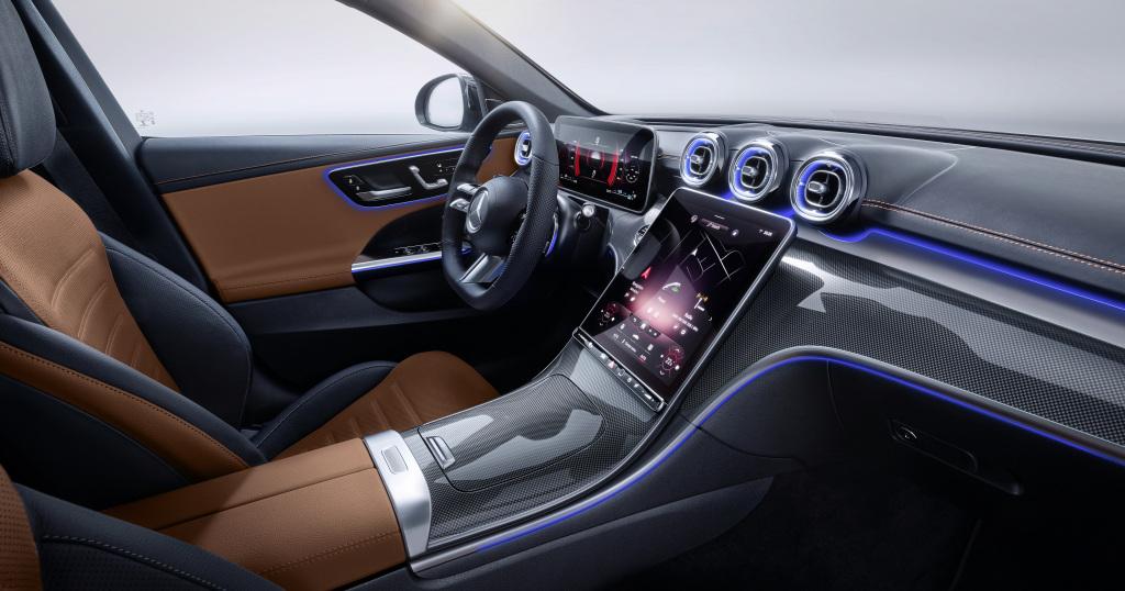 Mercedes-Benz C-Class, 2021, selenite grey magno, siena brown/black leather. Interior