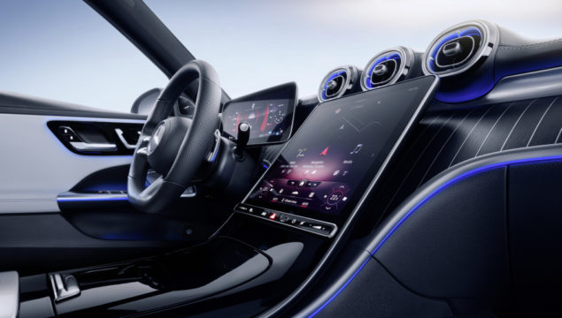 Mercedes-Benz C-Class Estate, 2021, spectral blue, neva grey/black leather. Interior