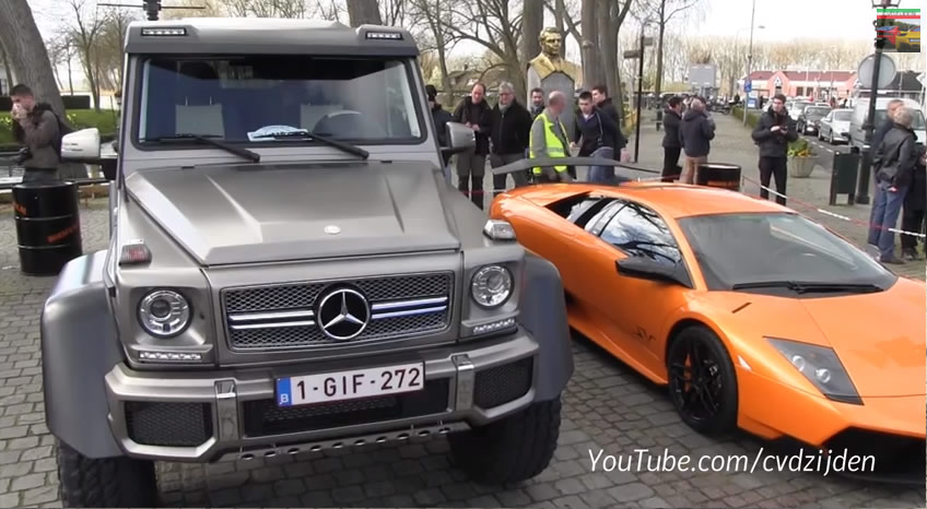 Mercedes G63 AMG 6x6 Towers over Lamborghini Murcielago SV