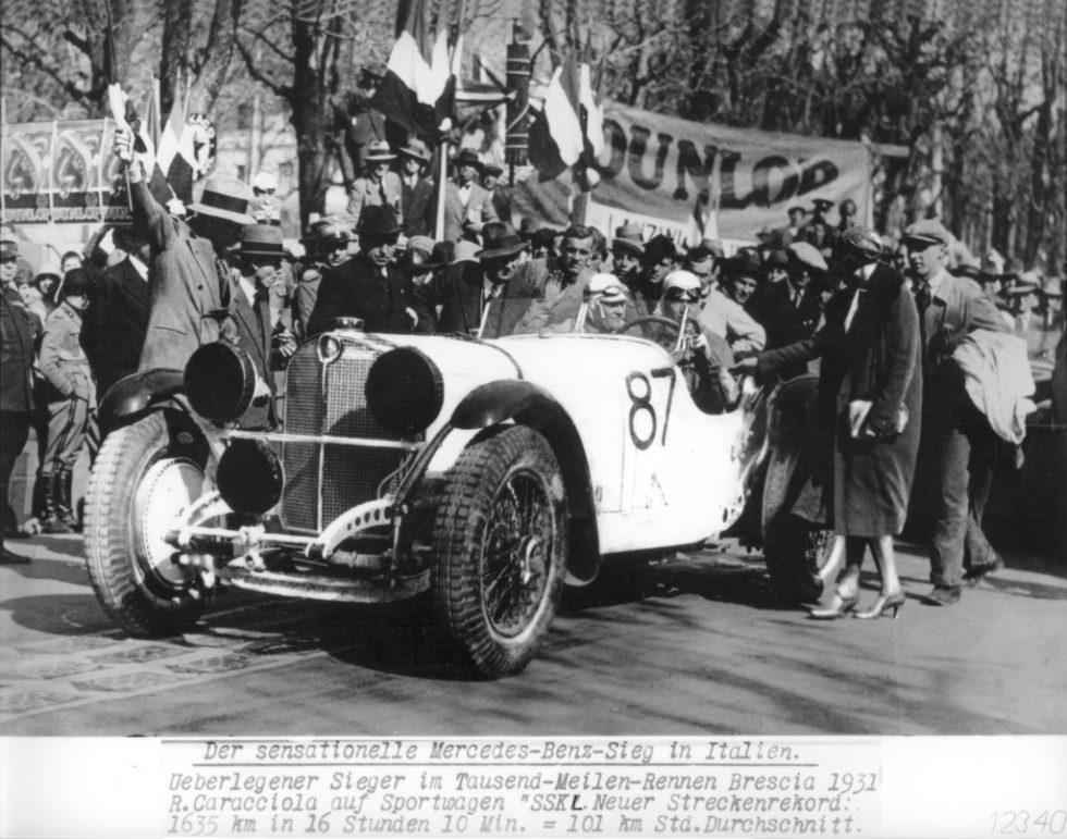 Mille Miglia 1931: The eventual winner Rudolf Caracciola at the start in a Mercedes-Benz SSK, 12 April 1931.